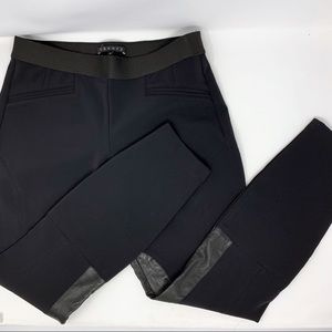 Theory Leather Accent Riding Pants Leggings